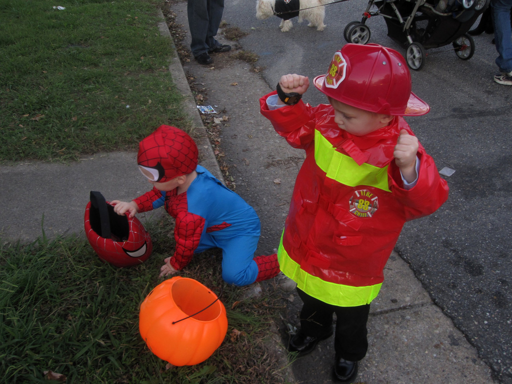 Fireman Timothy and Spiderman Colin
